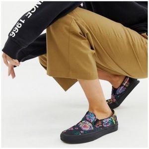 Vans Classic Slip-On black floral satin sneakers 7